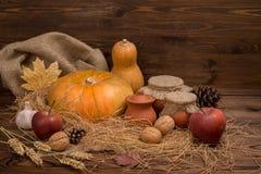 Del otoño todavía de la acción de gracias vida oscura con las calabazas, manzana roja, GA Imagenes de archivo