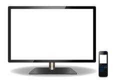 DEL ou affichage à cristaux liquides TV et écran tactile lointain illustration stock