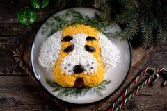 ` Del perro del ` de la ensalada del ` s del Año Nuevo para la celebración de 2018 - el año del perro amarillo Ensalada del pollo Fotografía de archivo