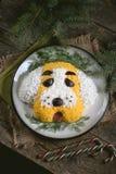 ` Del perro del ` de la ensalada del ` s del Año Nuevo para la celebración de 2018 - el año del perro amarillo Ensalada del pollo Imágenes de archivo libres de regalías