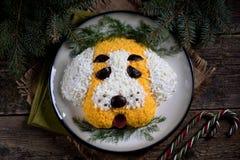 ` Del perro del ` de la ensalada del ` s del Año Nuevo para la celebración de 2018 - el año del perro amarillo Ensalada del pollo Fotos de archivo libres de regalías