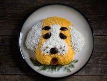 ` Del perro del ` de la ensalada del ` s del Año Nuevo para la celebración de 2018 - el año del perro amarillo Ensalada del pollo Imagen de archivo