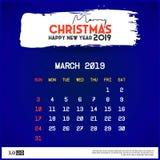 Del 2019 plantilla del calendario de marzo Fondo del azul de la Feliz Navidad y de la Feliz A?o Nuevo ilustración del vector