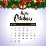 Del 2019 plantilla del dise?o del calendario de abril de la decoraci?n de la Navidad o del A?o Nuevo libre illustration