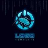 Del poder insecto Logo Template del botón encendido Ilustración del vector Imagenes de archivo