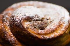 Del primo piano cinnabon al forno di recente con la glassa in polvere dello zucchero, come visto da sopra, concetto della pasticc Fotografie Stock Libere da Diritti