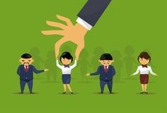 Del reclutamiento de la mano de la cosecha de la empresaria del candidato de From Group Of hombres de negocios asiáticos a la pos Foto de archivo libre de regalías