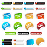 Del registro botones ahora Fotografía de archivo libre de regalías