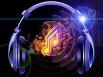 Del sonido, de la música y de los auriculares stock de ilustración