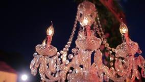 del tipo di candela, di vetro, plafoniere del candeliere archivi video
