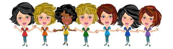 Del trabajo en equipo mujer con éxito ilustración del vector