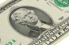 Del 2 US dollar sedel med en stående av Jefferson Royaltyfria Foton
