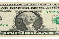 Del 1 US dollar sedel med en stående av Washington Arkivfoton