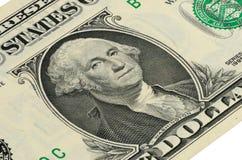 Del 1 US dollar sedel med en stående av Washington Royaltyfri Fotografi