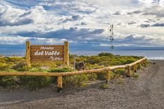 Del Valle Viewpoint, Los Antiguos, Argentinien lizenzfreie stockbilder