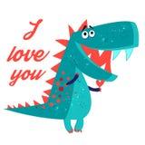 Del vector dinosaurio amoroso brillantemente enamorado stock de ilustración