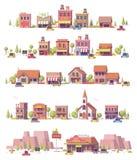 Del vector escenas polivinílicas de la pequeña ciudad bajo 2.as ilustración del vector