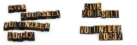 Del volontario messaggio dello scritto tipografico oggi Immagine Stock Libera da Diritti