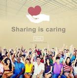 Dela att bry sig begrepp för nätverkande för aktieåsikt socialt arkivfoto