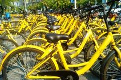Dela cyklar som parkerar i gatorna av staden Fotografering för Bildbyråer