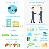 Dela den ekonomiInfographics uppsättningen Arkivbilder