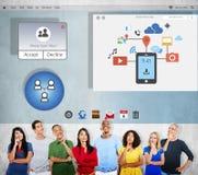 Dela diagrammet Concep för teknologi för nätverkandeanslutningsutbyte arkivfoto