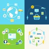 Dela ekonomi och den kollaborativa förbrukningsbegreppsillustrationen Fotografering för Bildbyråer
