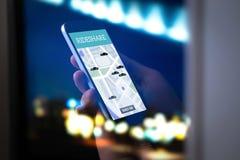 Dela för ritt och carpoolmobilapplikation Rideshare taxi app royaltyfria foton