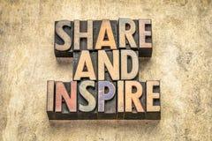 Dela och inspirera i trätyp royaltyfri bild