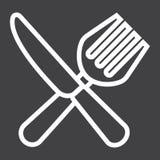 Dela sig och baktala linjen symbol, matställe och restaurang Royaltyfri Foto
