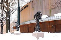 Delacorte Theatre in New York City Central Park. Romeo and Juliet statue and Delacorte Theatre in New York City Manhattan Central Park in winter with white snow stock photos