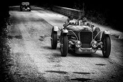 DELAGE D6 75 SPORT 1939. PESARO, ITALY - MAY 15: old racing car in rally Mille Miglia 2015 the famous italian historical race 1927-1957 on May 15 2015 stock image