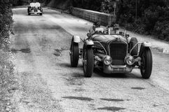 DELAGE D6 75 SPORT 1939. PESARO, ITALY - MAY 15: old racing car in rally Mille Miglia 2015 the famous italian historical race 1927-1957 on May 15 2015 royalty free stock photo