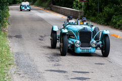 DELAGE D6 75 SPORT 1939. PESARO, ITALY - MAY 15: old racing car in rally Mille Miglia 2015 the famous italian historical race 1927-1957 on May 15 2015 stock photo