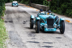 DELAGE D6 75 SPORT 1939. PESARO, ITALY - MAY 15: old racing car in rally Mille Miglia 2015 the famous italian historical race 1927-1957 on May 15 2015 royalty free stock images