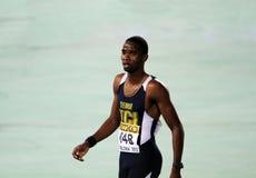 Delano Williams celebrates winning of 200 meters Stock Photography