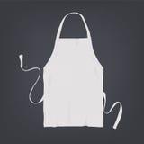 Delantal blanco realista de la cocina Ejemplo del vector en fondo oscuro Fotografía de archivo
