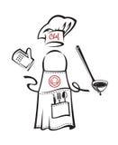 Delantal con artículos de cocina Fotografía de archivo libre de regalías
