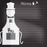 Delantal con el menú en el concepto del fondo del tablero de tiza para el fondo Imagen de archivo