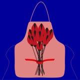Delantal con una imagen de un ramo de flores stock de ilustración