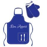 Delantal y manoplas azules Fotografía de archivo libre de regalías