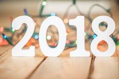 2018 delante de luces de la Navidad Foto de archivo libre de regalías