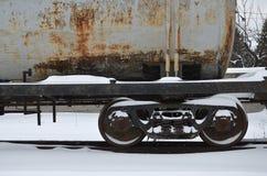 Delar av den snöig fraktrailcaren Royaltyfria Bilder
