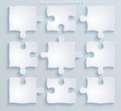 Delar av färgrika pussel. Uppsättning av 8, 4, vektor 10  Arkivbild