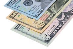 Delar av US dollar av olikt nominellt värde ett på andra Arkivfoto