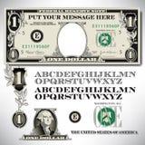 Delar för en dollarräkning med ett alfabet royaltyfri illustrationer