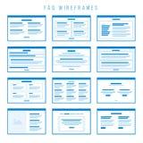 Delar för FAQ Wireframe för byggande prototyper royaltyfri illustrationer
