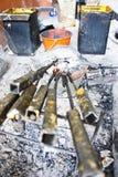 Delar som snidas stearinljus Fotografering för Bildbyråer