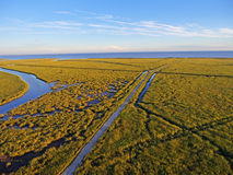 Delaware Bay. Aerial Landscape of the Marshes Surrounding the Delaware Bay in New Jersey Stock Image