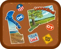 Delaware, Connecticut, travel stickers with scenic attractions. And retro text on vintage suitcase background Stock Image